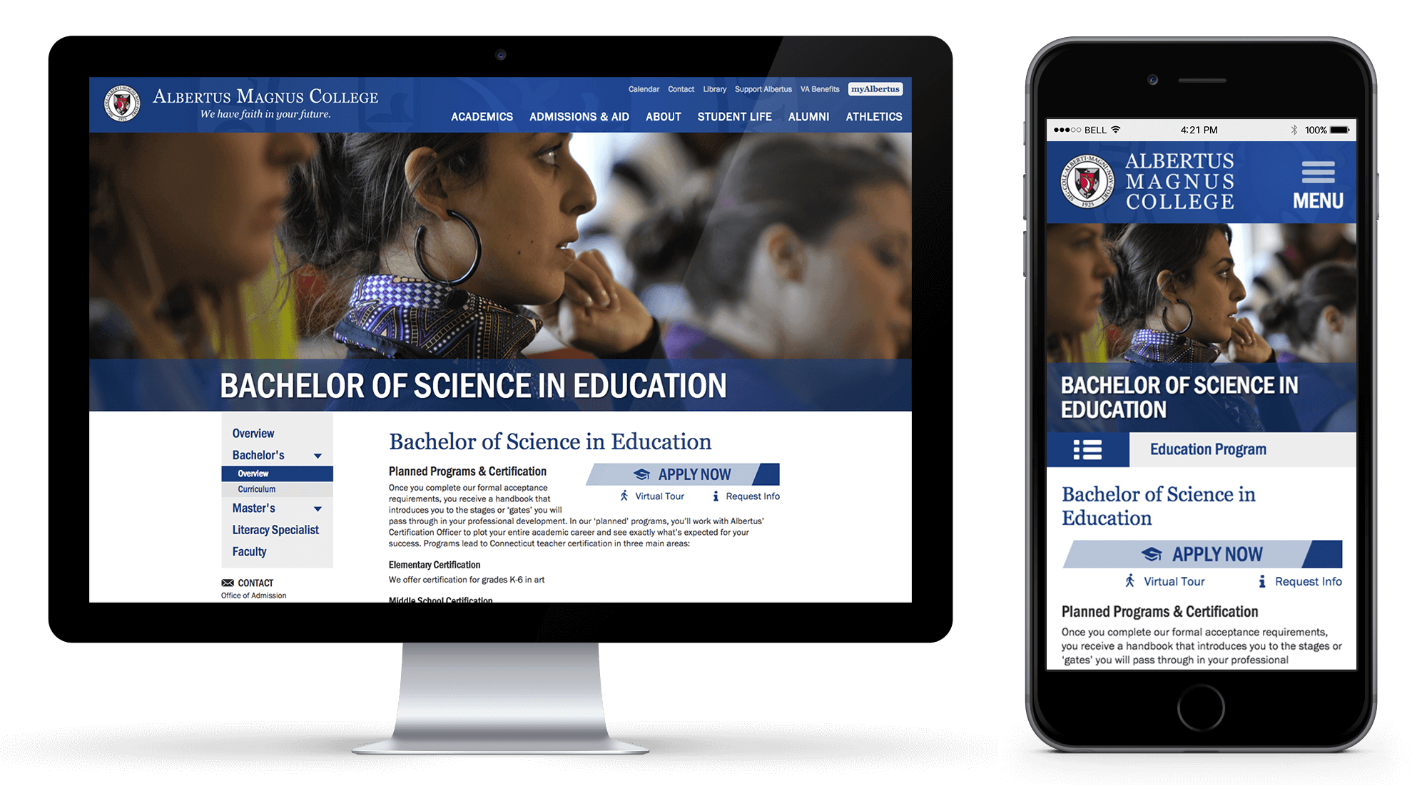 Albertus Magnus Website Microsite Desktop and Mobile