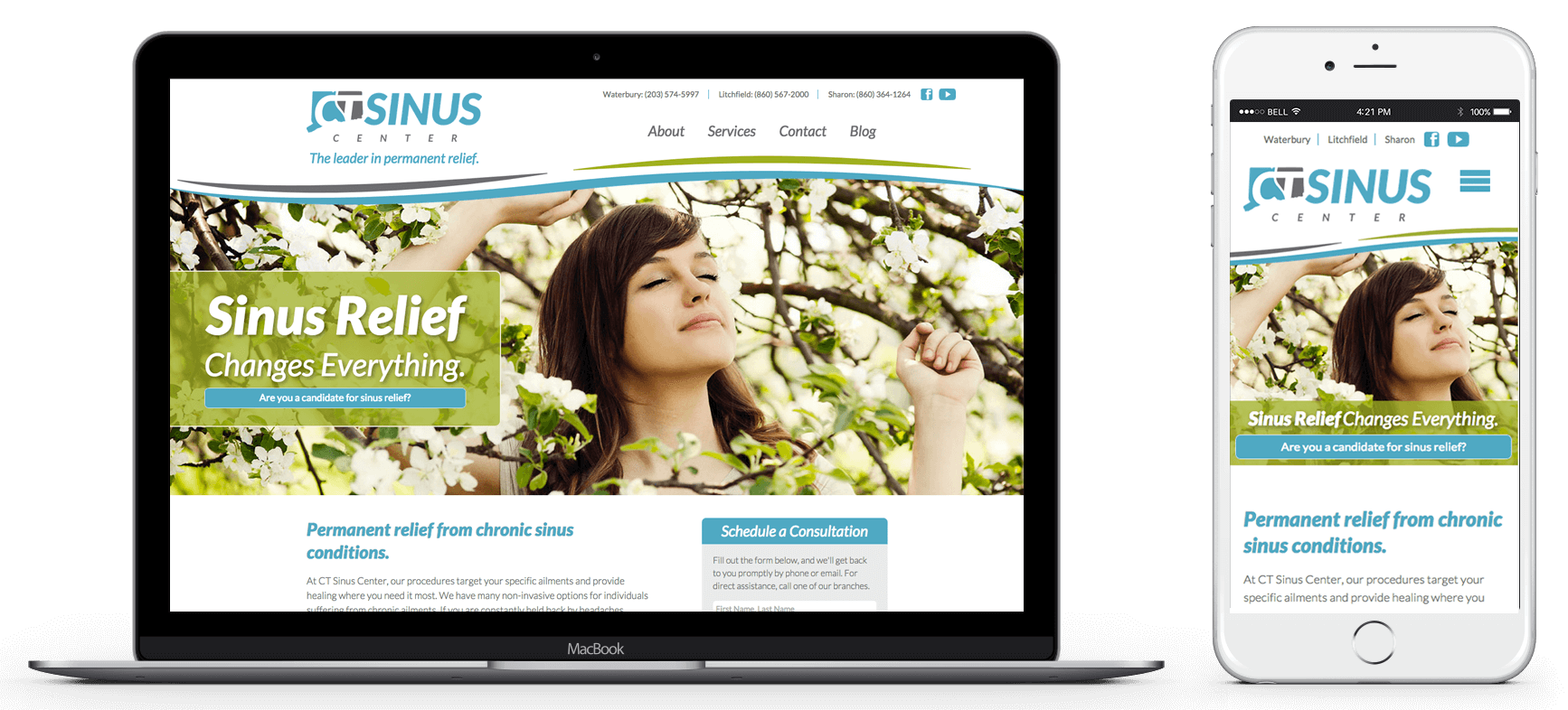 CT Sinus Center Website Desktop and Mobile